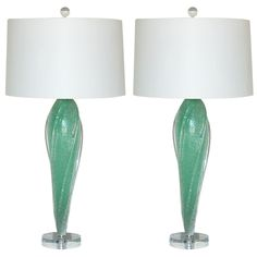 Archimede Seguso - Pulegoso Wings in Sea Foam Green | From a unique collection of antique and modern table lamps at http://www.1stdibs.com/furniture/lighting/table-lamps/