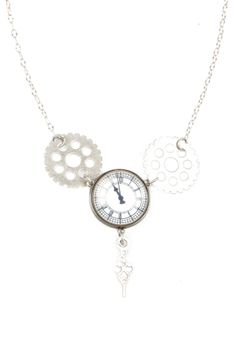 classic meets quirky — Clock Button Necklace