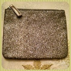 """Makeup pouch  nwot Glitter flat zippered  pouch  7.5"""" x 6"""" The third picture is the truest representation of the color which is gunmetal/silver gray LOFT Bags Cosmetic Bags & Cases"""