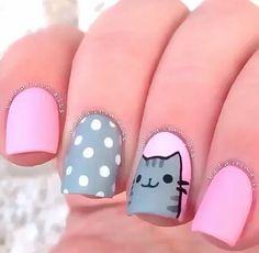 easy nail art designs for summer 2015 Cat Nail Art, Cat Nails, Pink Nails, Animal Nail Art, Glitter Nails, Fancy Nails, Pretty Nails, Nails For Kids, Simple Nail Art Designs