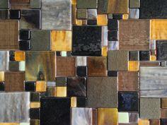 Fused Glass Mosaic Patchwork Kitchen Backsplash | Designer Glass Mosaics