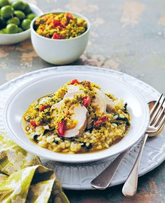 Lemon poached chicken with silverbeet risotto and herbed tomato dressing recipe from Taste of Australia by Lyndey Milan | Cooked