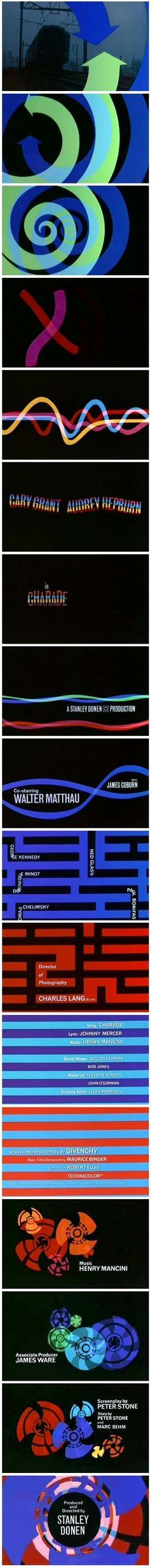 "Titles by Maurice Binder (best known for his Bond Film title sequences, including the iconic gun barrel intro) from ""Charade"" (dir. Stanley Donen, 1963)."