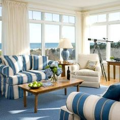 Ocean Blue and White - Interior Color Trend 2013 For Cozy Living Room