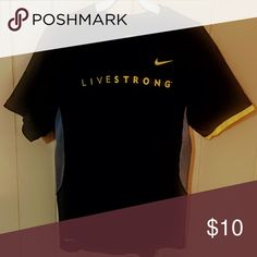 Nike Livestrong Dri Fit Great condition! Black dri fit with gray side panels and Livestrong across the front in bright yellow. Nike Shirts Tees - Short Sleeve