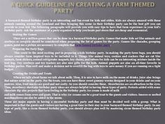 A Quick Guideline in Creating a Farm Themed by just4uparties via authorSTREAM
