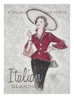 Art Print: Italian Glamour Art Print by Chad Barrett by Chad Barrett : Vintage Prints, Vintage Posters, Vintage Art, Vintage Ladies, Decoupage Vintage, Chad Barrett, Fashion Art, Vintage Fashion, Etiquette Vintage