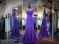 This elegant purple soft jersey features a beautiful crystal neckline cascading into a sparkling illusion back and long sweep train. O.M.G. and it's at Rsvp Prom and Pageant, your source for the HOTTEST Prom and Pageant Dresses!