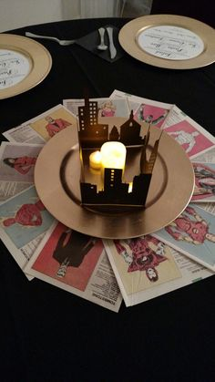 Comic book city skyline wedding reception centerpiece Cricut