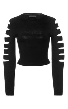 How easy would this be as a DIY! Must do. Black Slashed Ribbed Crop Top by CUSHNIE ET OCHS Now Available on Moda Operandi
