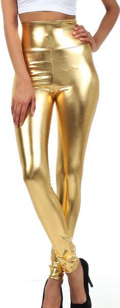 Sakkas Liquid2616 Shiny Liquid Metallic High Waist Stretch Leggings - Made in USA - Gold - XL