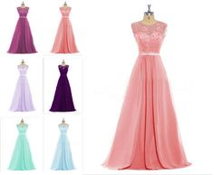 Stock-Multi-Color-Lace-Formal-Party-Evening-Prom-Gown-Bridesmaid-Dress-Size-6-20