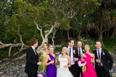 casual bridal party. bright colours
