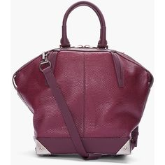 ALEXANDER WANG Small Burgundy Giant Lizard Skin Emile Tote ($740) ❤ liked on Polyvore