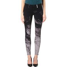 HUDSON JEANS Nico tie-dye super-skinny mid-rise jeans (Black/grey smoke