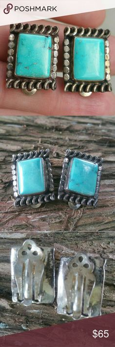 Old sterling silver turquoise clip earrings Vintage clip back earrings turquoise set in sterling silver Jewelry