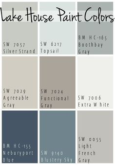 The Best Lake House Paint Colors - calming blue and gray tones that all coordinate for a seamless color pallet for a lake home. The Best Lake House Paint Colors - calming blue and gray tones that all coordinate for a seamless color pallet for a lake home. Paint Schemes, Colour Schemes, Colour Palettes, Color Combinations, Coastal Color Palettes, Beach Color Schemes, Pintura Exterior, Interior Design Minimalist, Contemporary Interior