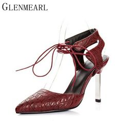 67e9d631aefb 2017 New Women Pumps Shoes Summer Spring Sexy Pointed Ankle Strap Brand Red Black  High-