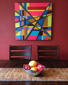 """Enlarged Giclee print of a """"Fractal Series"""" piece installed in a collectors home in San Diego, California."""