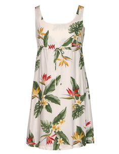 932a09f35 Shop from Hawaii White Dress Birds of Paradise Adjustable Front Tie at Shaka  Time Hawaii Clothing