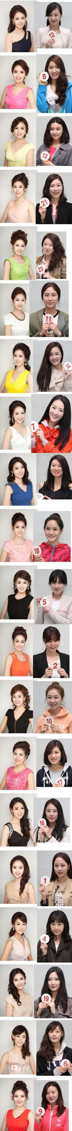 Miss Korea 2013 contestants before and after