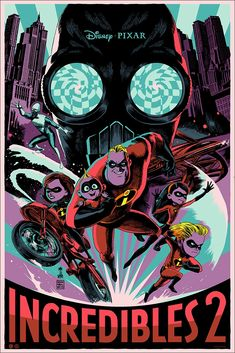 Limited The Incredibles 2 Poster Screen Printed by Artist Francesco Francavilla