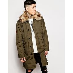 Pretty Green Parka with Faux Fur Trim (46060 RSD) ❤ liked on Polyvore featuring men's fashion, men's clothing, men's outerwear, men's coats and moss