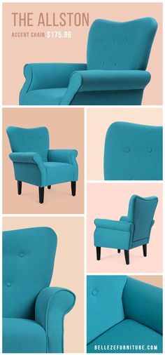 Traditional Interior Design Ideas For A Beautiful Home Wingback Accent Chair, Office Chair Cushion, Tufted Chair, Chair Cushions, Traditional Interior, Contemporary Interior Design, Luxury Interior Design, Studio Interior, Blue Accent Chairs