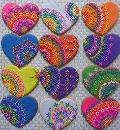 Henna Sugar Cookies Sweet17Cookies.Etsy.com Fancy Cookies, Valentine Cookies, Iced Cookies, Biscuit Cookies, Cute Cookies, Easter Cookies, Royal Icing Cookies, Cupcake Cookies, Christmas Cookies