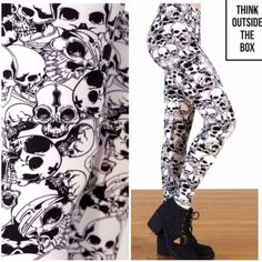 CATACOMBS PRINT BLACK & IVORY SKULL LEGGINGS Skulls are a year round novelty these days and these black and ivory cuties are fabulous. Micro Fiber Poly/Spandex, super stretchy and soft. Fits size 2-14, extremely stretchy! Made in USA   PLEASE DO NOT BUY THIS LISTING! I will personalize one for you. tla2 Pants Leggings