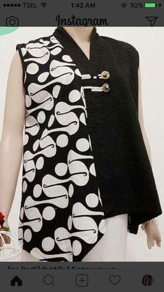 M. Lan. Batik Fashion, Diy Fashion, Fashion Dresses, Fashion Design, Lolita Fashion, Blouse Batik, Batik Dress, Dress Batik Kombinasi, Outer Batik