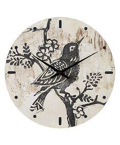 Look what I found on #zulily! Bird on Branch Wall Clock #zulilyfinds