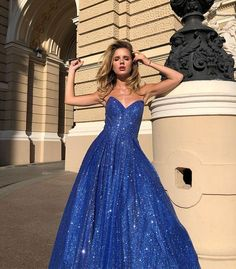 Bling A Line Sweetheart Royal Blue Long Prom Party Dress cg20924