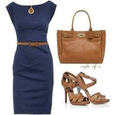 Boat neck dress with belt and matching heels .