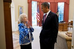 President Barack Obama talks with Betty White in the Oval Office, June 11, 2012. For Elias, XO