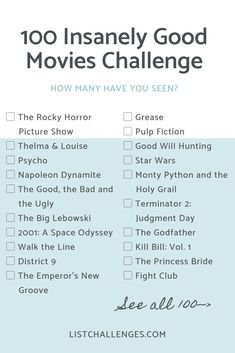 100 Insanely Good Movies - One hundred well thought of, fantastic movies from several genres such as horror, sci-fi, drama, etc. How many have you seen? Take the challenge --> list 100 Insanely Good Movies Netflix Movies To Watch, Good Movies On Netflix, Movie To Watch List, Good Movies To Watch, Teen Movies, Iconic Movies, Family Movies, Popular Movies, List Of Good Movies
