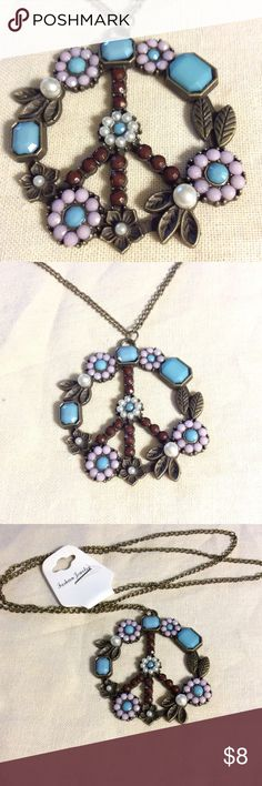 Floral Peace Sign Necklace NWT Floral Peace Sign Necklace NWT Jewelry Necklaces