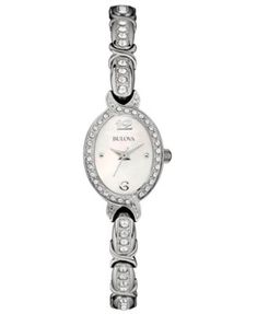 Bulova Women's Crystal Accent Stainless Steel Bracelet Watch 17mm 96L199 | macys.com