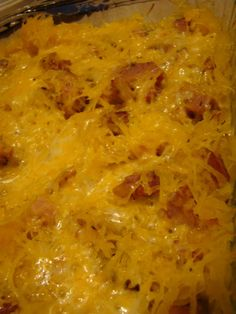 Ham and Spaghetti Squash Au Gratin- this is really yummy! To make it healthier I only used one Tb butter and did not top the squash with the other of cheese. I also added mushrooms- delish! Pork Recipes, Low Carb Recipes, Diet Recipes, Cooking Recipes, Healthy Recipes, Medifast Recipes, Recipies, Skinny Recipes, Veggie Recipes