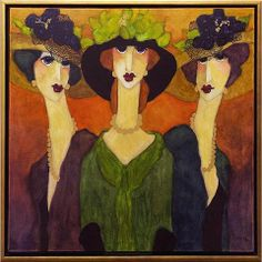 One Black Hat Artist Tom Barnes Subject Parisian Womenh4> Medium Oil on Canvas Category Painting Dimensions H 30in x W 30in Artw...
