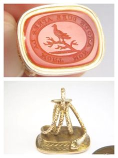 Solid 15 carat gold Fob with coiled snake design and carnelian seal engraved with a bird and the motto 'Mon Amore Dure Apres La Mort' (My Love Lasts After Death) $526