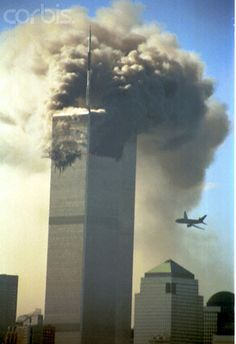 Terrorist attack on World Trade Center. The second hijacked plane is seen as it is about to hit the second tower of the World Trade Center on Tuesday, September 11, 2001. --- Photo by Dan Joyce/Corbis SABA