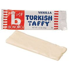 """Bonomos Turkish Taffy - Vanilla Flavored Taffy An old favorite taffy from the notheast that just started being reproduced in the last few years. Vanilla flavored taffy bars with the famous saying """"Smack It - Crack It"""" oz bars of Turkish Taffy Diy Wedding Supplies, Wedding Supplies Wholesale, Wedding Favors, Party Favors, Sweet Memories, Childhood Memories, Nostalgic Candy, Retro Candy, Candy Crafts"""