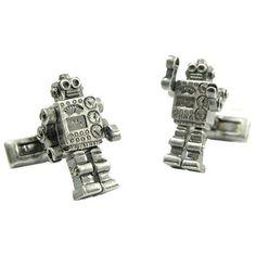 Robot cufflinks with movable arms from cufflinksdepot Elizabeth Parker, Gentleman's Wardrobe, Dapper Gentleman, Cufflinks, Geek Stuff, Enamel, Men Wear, Real Men, Robots