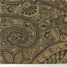 DEC- Black & Gold Paisley Home Decor Fabric