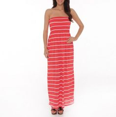 Coral Stripe Strapless Maxi Dress