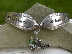 Bring him home safe hand stamped spoon handle bracelet with truck char - Whispering Metalworks