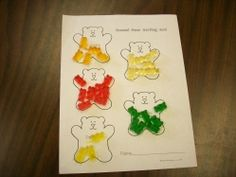 color sorting with gummy bears. Many activities involving bear books. Act out Goldie locks and the three bears