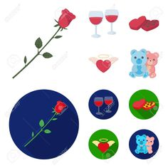 Glasses with wine, chocolate hearts, bears, valentine.Romantik set collection icons in cartoon,flat style vector symbol stock illustration web. , #Aff, #Romantik, #valentine, #collection, #set, #bears