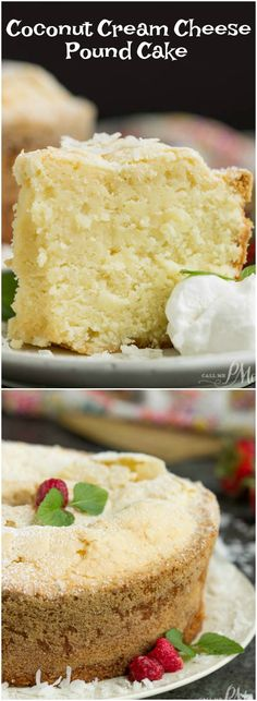 Coconut Cream Cheese Pound Cake recipe is crazy delicious. Dense and buttery this pound cake is topped simply with a sprinkle of powdered sugar then served with whipped cream and berries. This rich, dense, buttery cake is dessert perfection. Brownie Desserts, Oreo Dessert, Mini Desserts, Just Desserts, Delicious Desserts, Dessert Recipes, Yummy Food, Desserts With Sour Cream, Appetizer Dessert